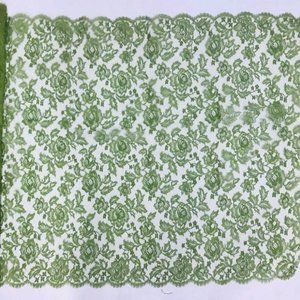Lace Fabric Floral Roses Scalloped Edge